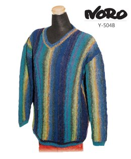 Striped V-Neck Pullover in Noro Kureyon