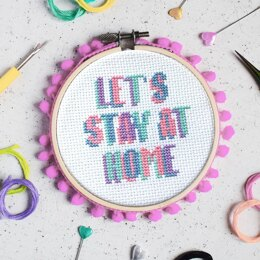 The Make Arcade Midi Cross Stitch - Let's Stay at Home - 4in