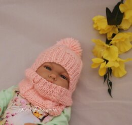 Baby doll pompom hat and scarf