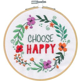 Dimensions Choose Happy Embroidery Kit with 6in Hoop Embroidery Kit - 6in