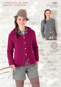 Round Neck and Hooded Raglan Jackets in Hayfield DK with Wool - 7057