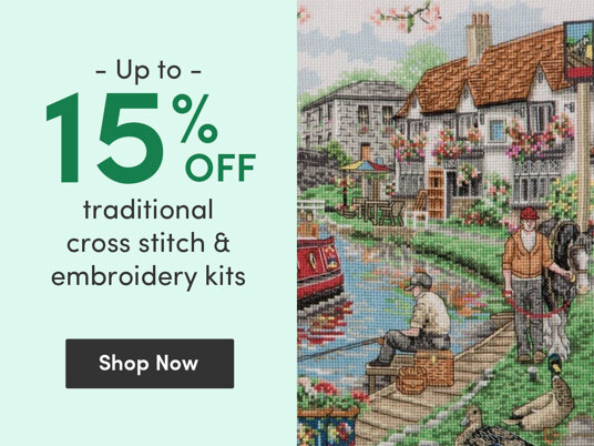 Up to 15 percent off traditional cross stitch & embroidery kits!