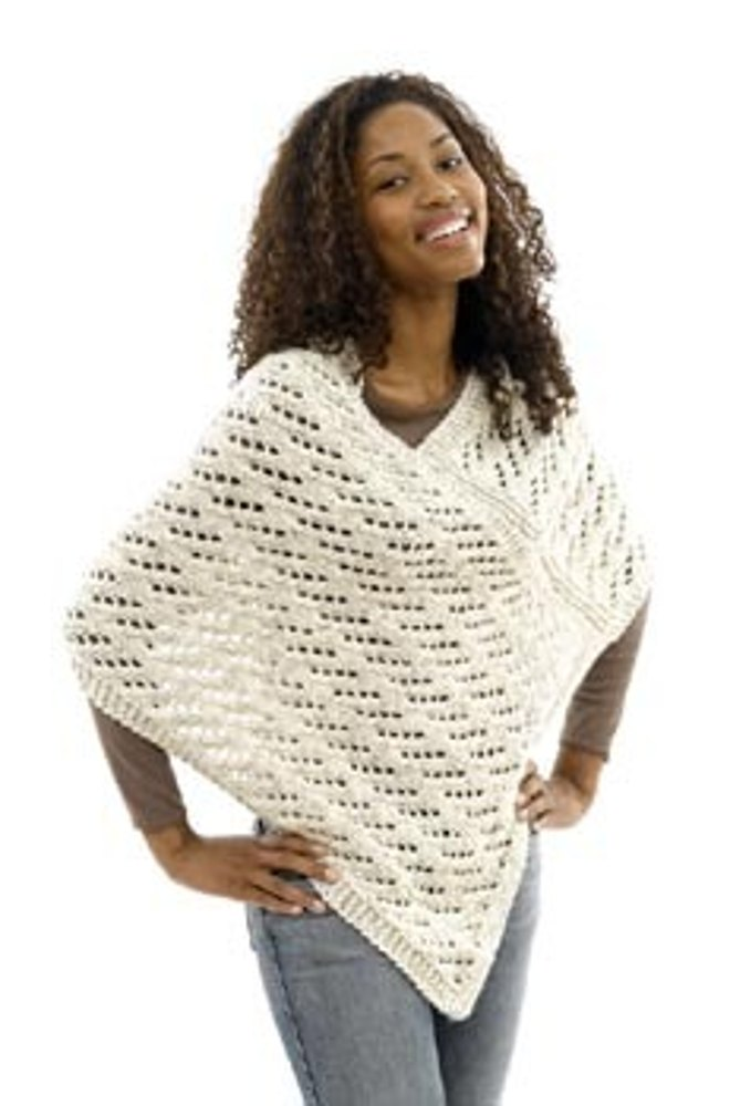 Lace Poncho In Lion Brand Wool Ease Chunky 40461 Knitting
