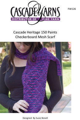 Checkerboard Mesh Scarf in Cascade Heritage 150 - FW126
