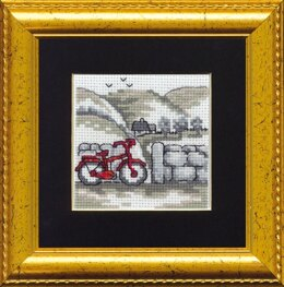 Permin Red Bicycle Cross Stitch Kit - 11cm x 11cm