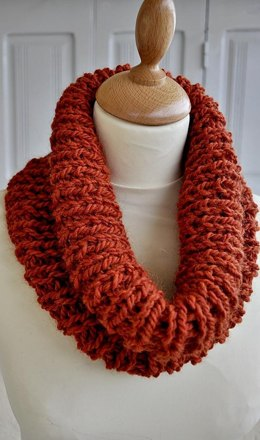 Knitted Orange Ribbed Cowl One Skein Pattern