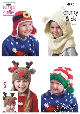 Kid's Novely Hats in King Cole DK and Chunky - 4870 - Downloadable PDF