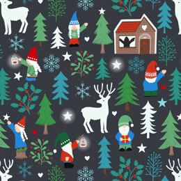 Lewis and Irene Hygge Glow in the Dark - Tomte Forest Charcoal Black