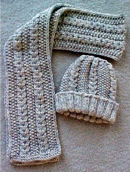 Aran Hat and Scarf - - Knit ePattern