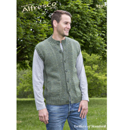 Knitted Waistcoat and Cardigan in Twilleys Freedom Alfresco Aran - 9207