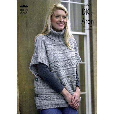 King Cole Poncho Knitting Pattern : Capes in King Cole Fashion Aran and Merino Blend DK- 3025