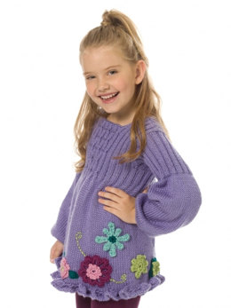 Girl's Smocked Tunic in Caron Simply Soft and Simply Soft Collection - Downloadable PDF