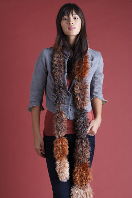 Knit Segment Scarf in Lion Brand Wool-Ease and Fun Fur - 50864B