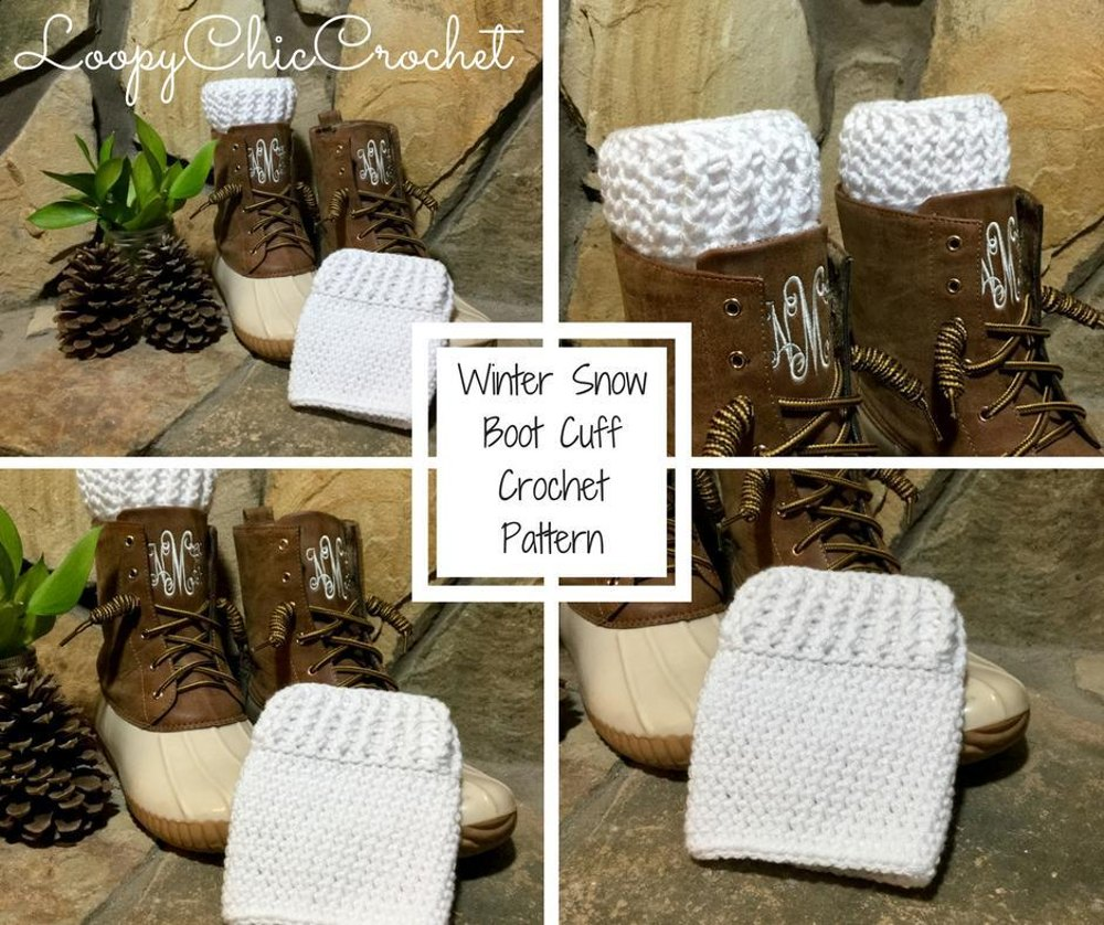 Winter Snow Boot Cuffs Crochet Pattern By Loopychiccrochet