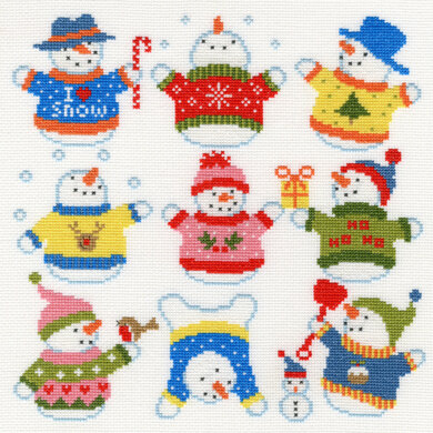 Bothy Threads Slightly Dotty Snowman Cross Stitch Kit - 26cm x 26cm