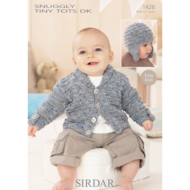 Helmet And Cardigan In Sirdar Snuggly Tiny Tots Dk 1426