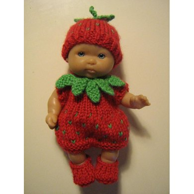 "5"" Berenguer Doll Strawberry Outfit"