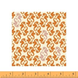 Windham Heather Ross 20th Anniversary - Cream-Orange Sea Horses