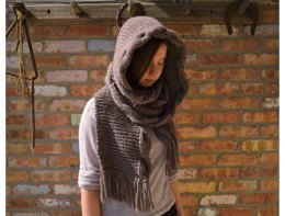 Hooded Cabled Scarf