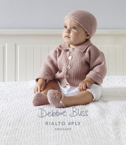 Babies Crochet Jacket, Beanie and Shoes in Debbie Bliss Rialto 4Ply - DB011