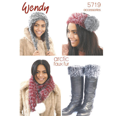 Hat, Scarf, Boot Toppers and Headband in Wendy Arctic - 5719