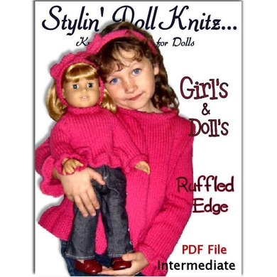 Sweater Knitting Patterns, fit girls 4-10, American Girl and 18 inch dolls. 542