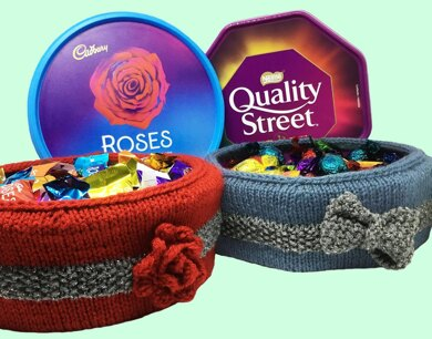 Christmas chocolate tub covers, Quality Street / Roses