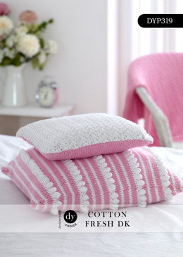 Lace and Bobble Stripes Cushion Set in DY Choice Cotton Fresh DK - DYP319