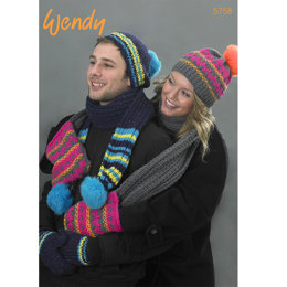 Hat, Scarf and Mitts in Wendy Mode Chunky - 5758