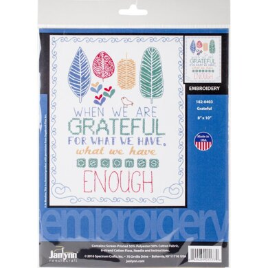 Janlynn Stamped Embroidery Kit - Grateful-Stitched In Floss