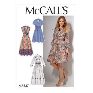 McCall's Misses' Banded, Gathered-Waist Dresses M7537 - Sewing Pattern