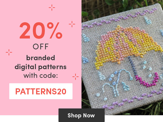20 percent off branded digital embroidery & cross stitch patterns with code PATTERNS20