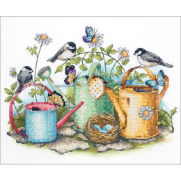 Dimensions Watering Cans Stamped Cross Stitch Kit