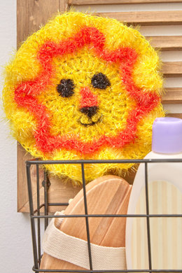 Friendly Lion Face Scrubby in Red Heart Scrubby Sparkle - LW5538