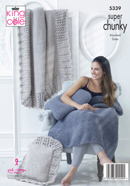 Blanket & Cushions in King Cole Big Value Super Chunky - 5339 - Leaflet