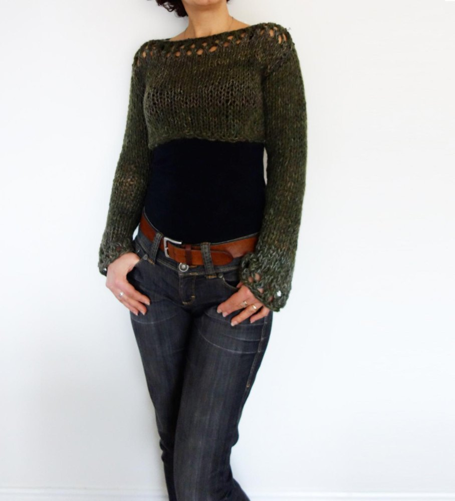 Woodland Cropped Sweater Knitting pattern by CamexiaDesigns