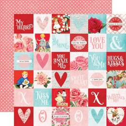 """Simple Stories Simple Vintage My Valentine Double-Sided Cardstock 12""""X12"""" 25/Pkg - 2""""X2"""" Elements"""