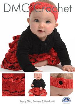 Poppy Skirt, Booties & Headband in DMC Petra Crochet Cotton Perle No. 3 - 15265L/2 - Leaflet