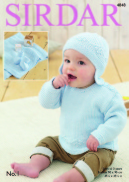 Sweater, Helmet, Bootees and Blanket in Sirdar No.1 - 4848