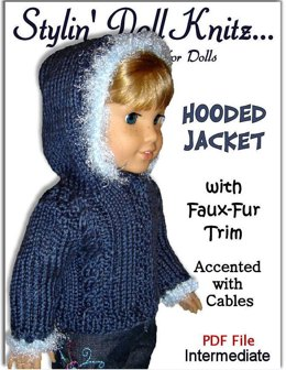 Faux Fur Hooded jacket, PDF Doll clothes knitting pattern, fits Amaerican Girl Doll and 18 inch dolls