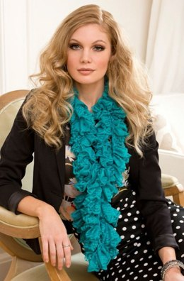 Darling Ruffle Scarf in Red Heart Boutique Sassy Lace - LW3729
