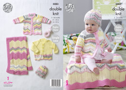 Blanket, Coat Cardigan & Hat in King Cole Cherish & Cherished DK - 5083 - Leaflet