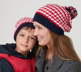 Striped Slouchie Hat in Caron United - Downloadable PDF