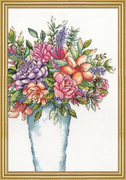 Design Works Aqua Vase Cross Stitch Kit - Multi