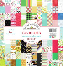 "Doodlebug Double-Sided Cardstock Value Pack 12""X12"" 50/Pkg - Seasons, 50 Designs/1 Each"