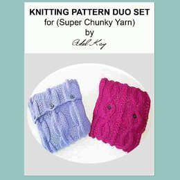 Ula Duo set of Chunky Yarn Vintage Textured Country Cottage Style Cushions Knitting Pattern by Adel Kay
