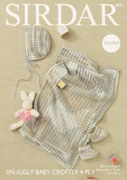 Blanket, Bonnet and Boots in Sirdar Snuggly Baby Crofter 4 Ply - 4821 - Downloadable PDF