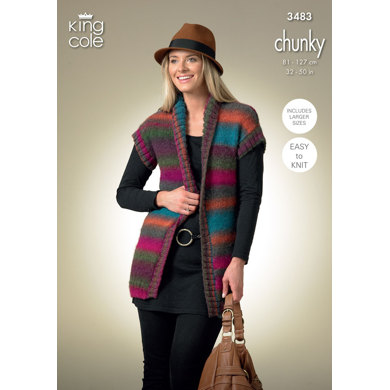 Ladies Cardigan and Waistcoat in King Cole Riot Chunky - 3483
