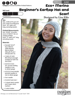 Beginners Earflap Hat and Scarf in Cascade Yarns Eco+ Merino - A342 - Downloadable PDF