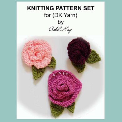 Molly 3 x Rose Flower Floral Brooches Pins Corsages DK Yarn Knitting by Adel Kay